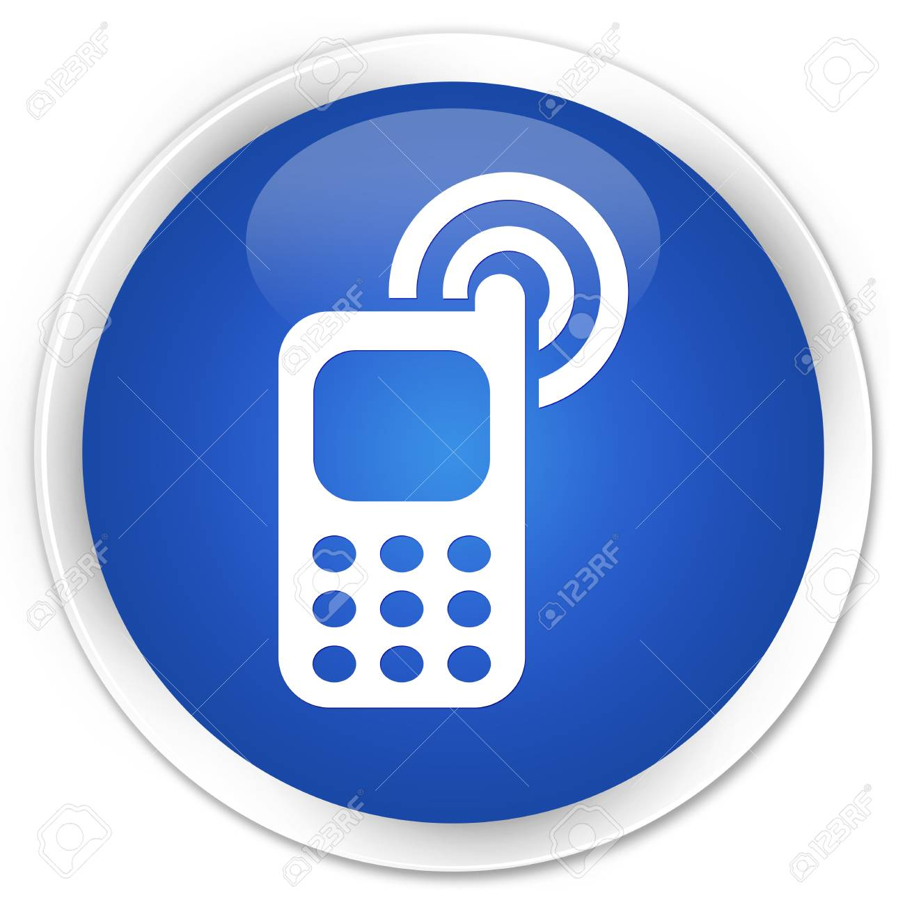 Cellphone ringing icon blue glossy round button